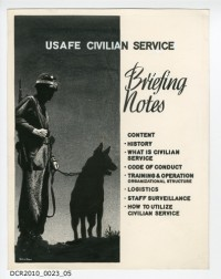 Entwurfszeichnung, USAFE Civilian Service, Briefing Notes