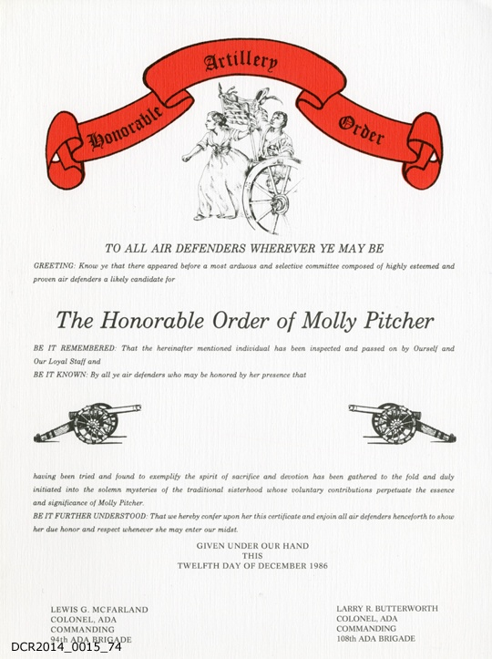 "Urkunde, The Honorable Order of Molly Pitcher (""dc-r"" docu center ramstein CC BY-NC-SA)"