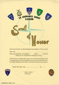 Urkunde, 59th Ordnance Group Sascom Scroll of Honor