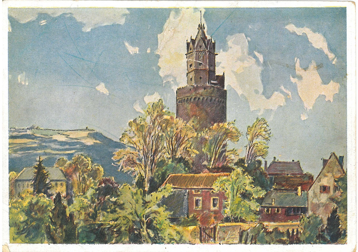 Postkarte mit Aquarell des Runden Turms (Stadtmuseum Andernach CC BY-NC-SA)